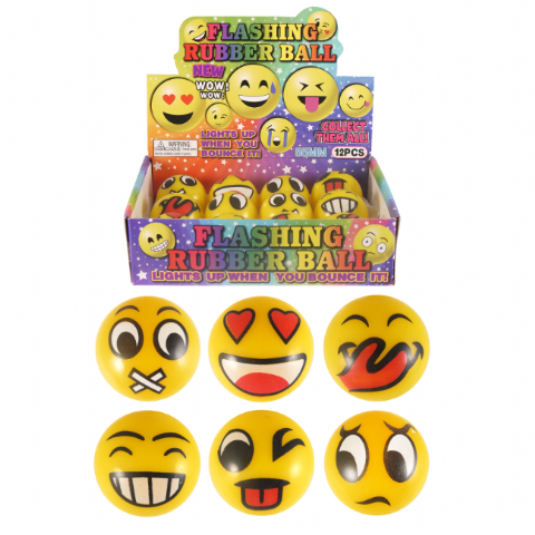 Emoti Emoticon Light-Up Flashing LED Bouncy Rubber Balls